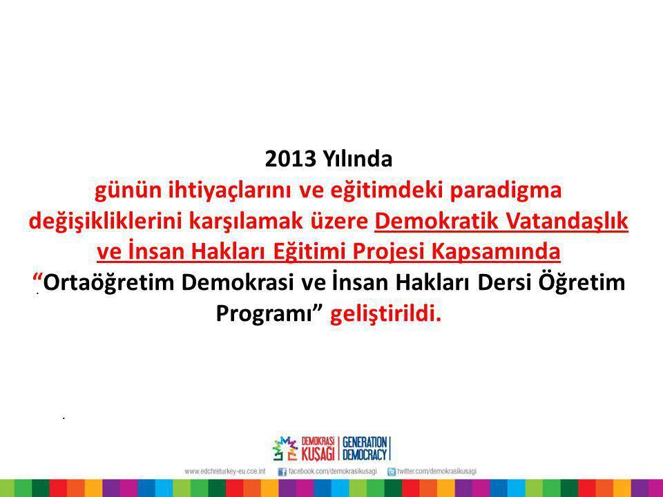 2013 Yılında Ortaöğretim Demokrasi ve İnsan Hakları Dersi Öğretim Programında yeni kabul edilebilecek bazı kavramlar…..