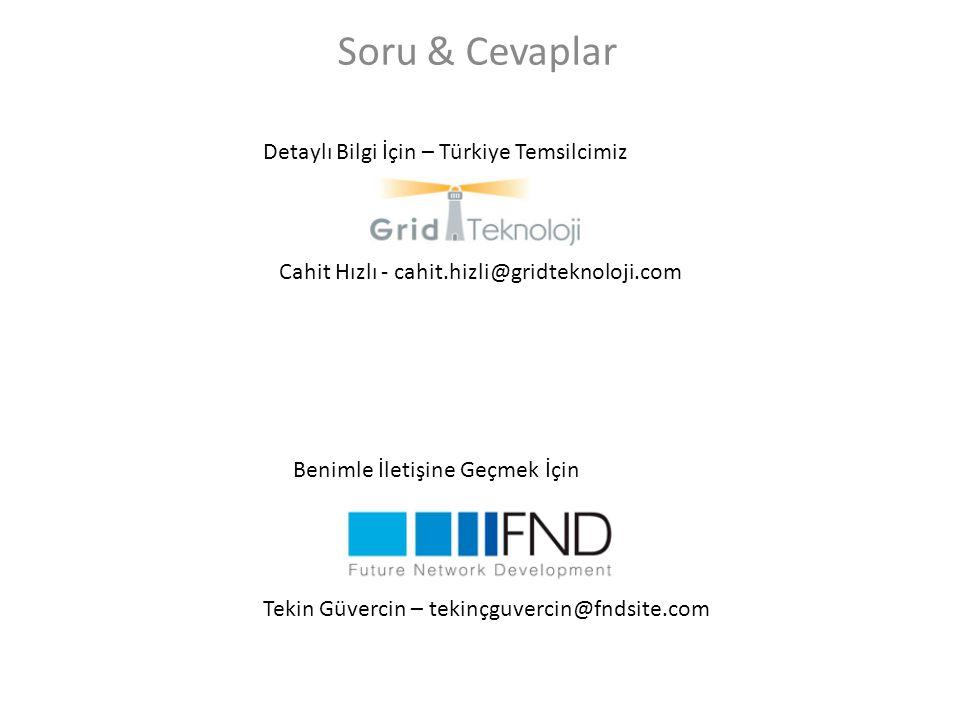 Soru & Cevaplar Detaylı Bilgi İçin – Türkiye Temsilcimiz Cahit Hızlı - cahit.hizli@gridteknoloji.com Benimle İletişine Geçmek İçin Tekin Güvercin – tekinçguvercin@fndsite.com