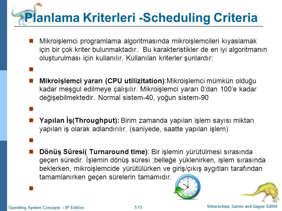 5.13 Silberschatz, Galvin and Gagne ©2009 Operating System Concepts – 8 th Edition Planlama Kriterleri -Scheduling Criteria  Mikroişlemci programlama algoritmasında mikroişlemcileri kıyaslamak için bir çok kriter bulunmaktadır.