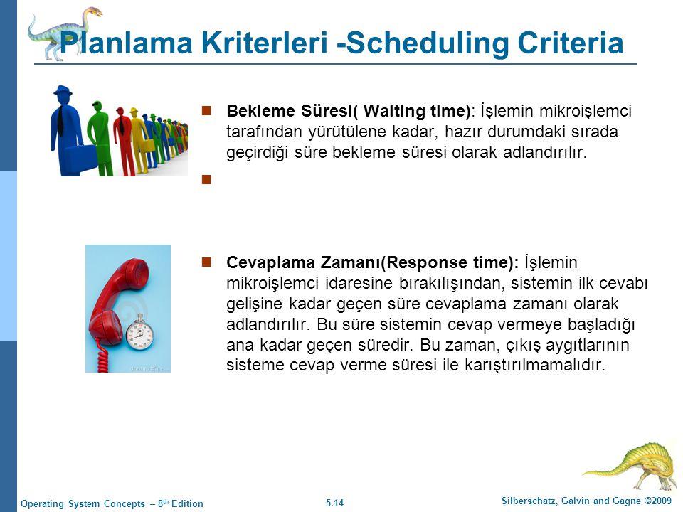 5.14 Silberschatz, Galvin and Gagne ©2009 Operating System Concepts – 8 th Edition Planlama Kriterleri -Scheduling Criteria  Bekleme Süresi( Waiting