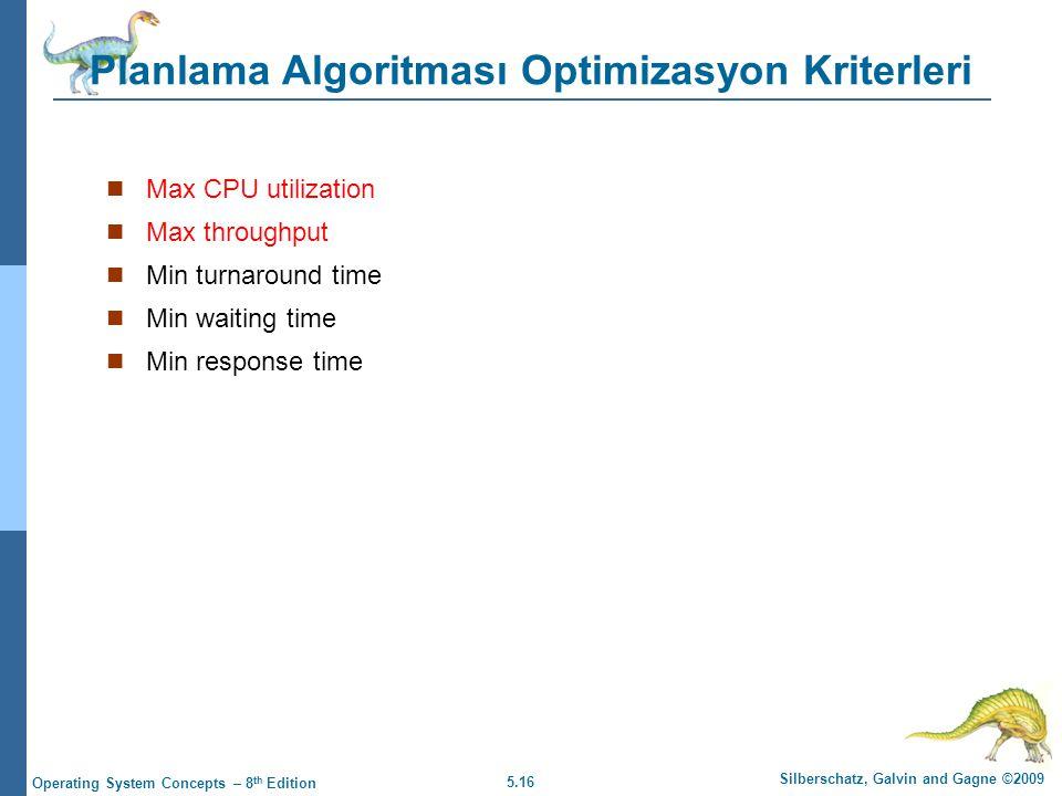 5.16 Silberschatz, Galvin and Gagne ©2009 Operating System Concepts – 8 th Edition Planlama Algoritması Optimizasyon Kriterleri  Max CPU utilization