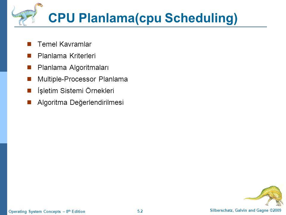 5.2 Silberschatz, Galvin and Gagne ©2009 Operating System Concepts – 8 th Edition CPU Planlama(cpu Scheduling)  Temel Kavramlar  Planlama Kriterleri  Planlama Algoritmaları  Multiple-Processor Planlama  İşletim Sistemi Örnekleri  Algoritma Değerlendirilmesi