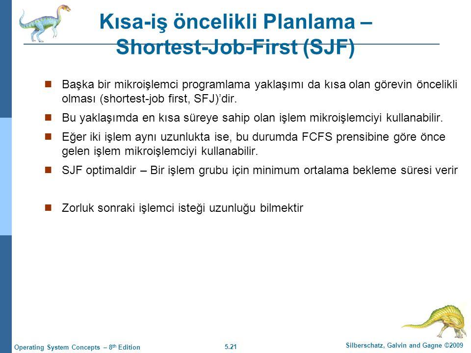 5.21 Silberschatz, Galvin and Gagne ©2009 Operating System Concepts – 8 th Edition Kısa-iş öncelikli Planlama – Shortest-Job-First (SJF)  Başka bir mikroişlemci programlama yaklaşımı da kısa olan görevin öncelikli olması (shortest-job first, SFJ)'dir.