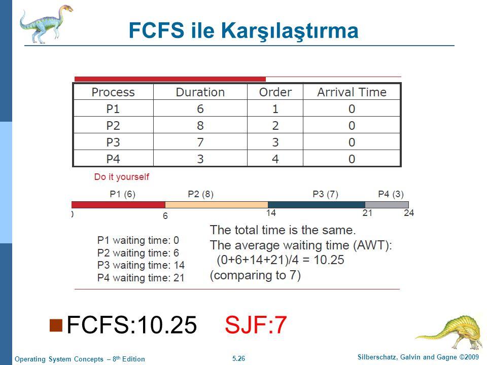 5.26 Silberschatz, Galvin and Gagne ©2009 Operating System Concepts – 8 th Edition FCFS ile Karşılaştırma  FCFS:10.25 SJF:7