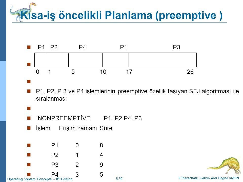 5.30 Silberschatz, Galvin and Gagne ©2009 Operating System Concepts – 8 th Edition Kısa-iş öncelikli Planlama (preemptive )  P1 P2 P4 P1 P3  0 1 5 10 17 26   P1, P2, P 3 ve P4 işlemlerinin preemptive özellik taşıyan SFJ algoritması ile sıralanması   NONPREEMPTİVE P1, P2,P4, P3  İşlem Erişim zamanıSüre  P108  P214  P329  P435