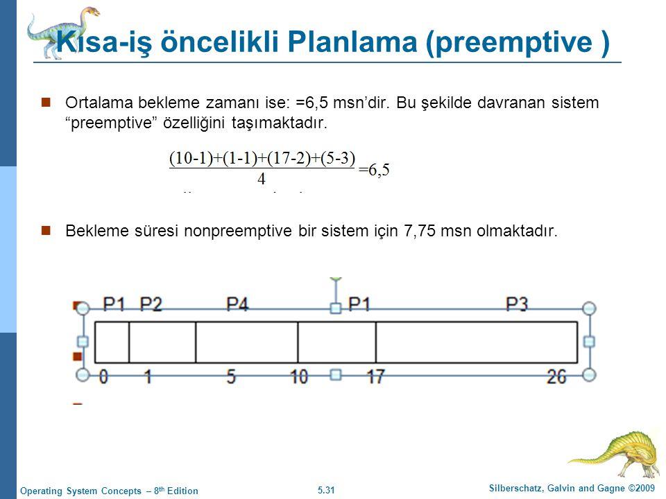 5.31 Silberschatz, Galvin and Gagne ©2009 Operating System Concepts – 8 th Edition Kısa-iş öncelikli Planlama (preemptive )  Ortalama bekleme zamanı ise: =6,5 msn'dir.