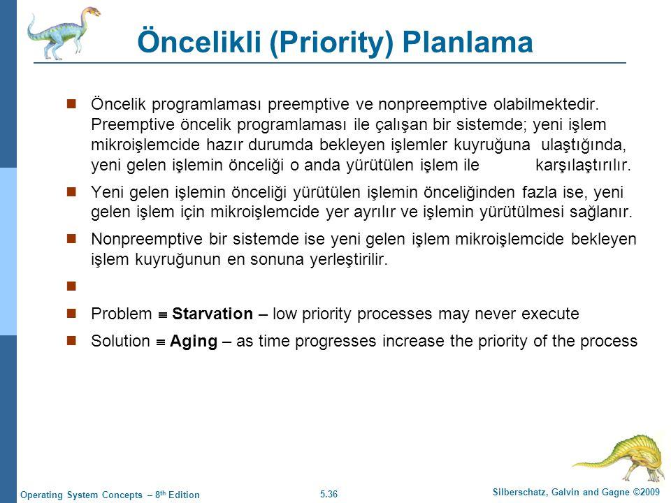 5.36 Silberschatz, Galvin and Gagne ©2009 Operating System Concepts – 8 th Edition Öncelikli (Priority) Planlama  Öncelik programlaması preemptive ve