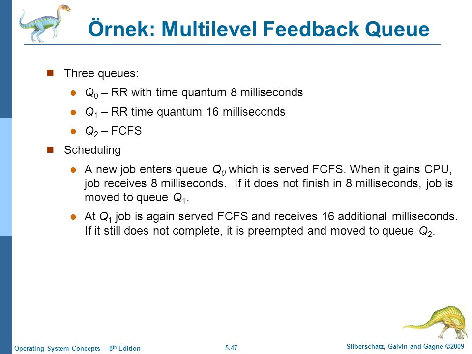 5.47 Silberschatz, Galvin and Gagne ©2009 Operating System Concepts – 8 th Edition Örnek: Multilevel Feedback Queue  Three queues:  Q 0 – RR with ti
