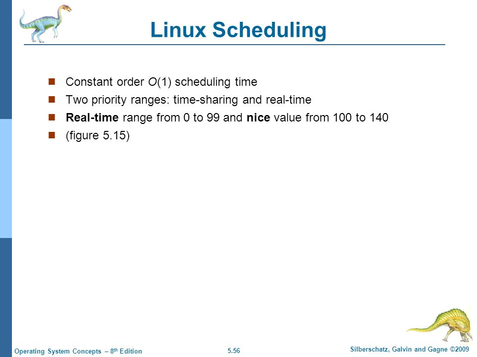 5.56 Silberschatz, Galvin and Gagne ©2009 Operating System Concepts – 8 th Edition Linux Scheduling  Constant order O(1) scheduling time  Two priori