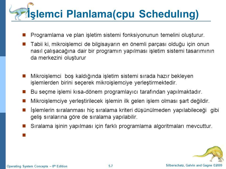 5.7 Silberschatz, Galvin and Gagne ©2009 Operating System Concepts – 8 th Edition İşlemci Planlama(cpu Schedulıng)  Programlama ve plan işletim sistemi fonksiyonunun temelini oluşturur.