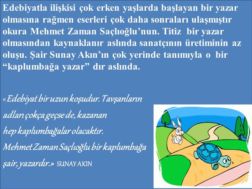 Edebiyatla ilişkisi çok erken yaşlarda başlayan bir yazar olmasına rağmen eserleri çok daha sonraları ulaşmıştır okura Mehmet Zaman Saçlıoğlu'nun. Tit