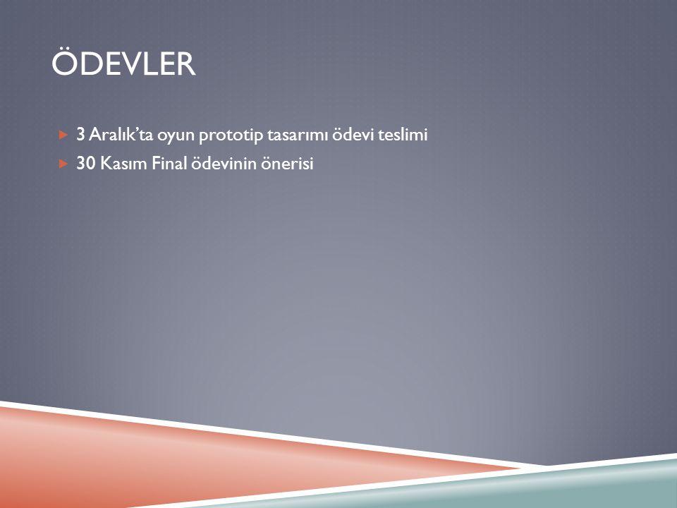 ÖDEVLER  3 Aralık'ta oyun prototip tasarımı ödevi teslimi  30 Kasım Final ödevinin önerisi