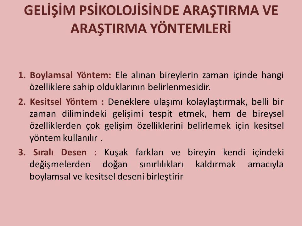 GELİŞİM PSİKOLOJİSİNDE ARAŞTIRMA VE ARAŞTIRMA YÖNTEMLERİ 1.