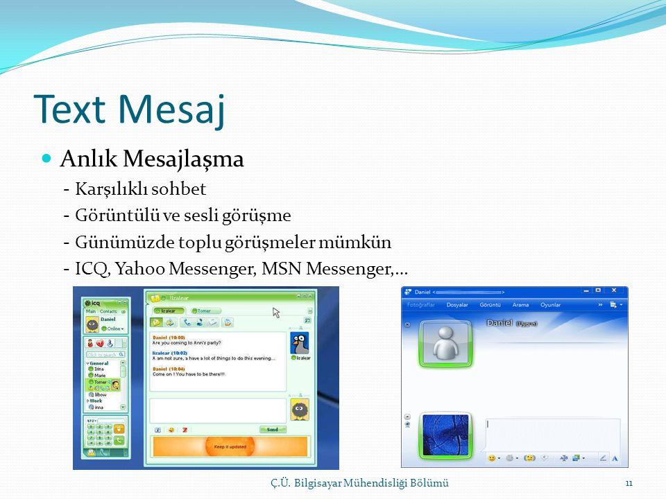 Text Mesaj  Anlık Mesajlaşma - Karşılıklı sohbet - Görüntülü ve sesli görüşme - Günümüzde toplu görüşmeler mümkün - ICQ, Yahoo Messenger, MSN Messenger,… Ç.Ü.