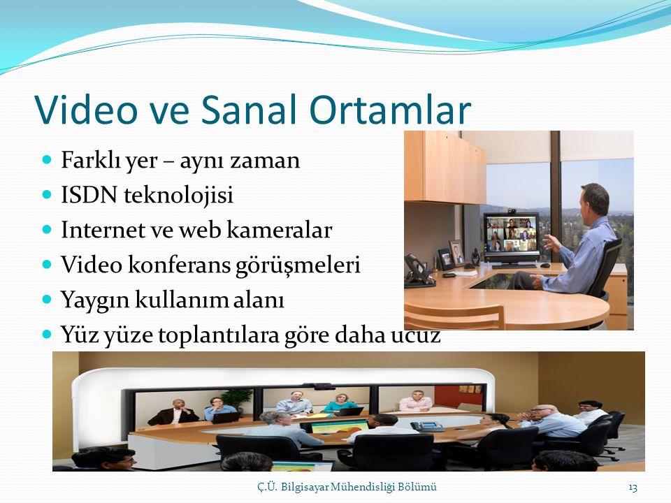 Video ve Sanal Ortamlar  Farklı yer – aynı zaman  ISDN teknolojisi  Internet ve web kameralar  Video konferans görüşmeleri  Yaygın kullanım alanı  Yüz yüze toplantılara göre daha ucuz Ç.Ü.