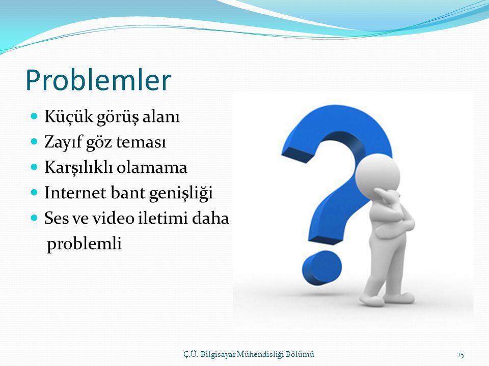 Problemler  Küçük görüş alanı  Zayıf göz teması  Karşılıklı olamama  Internet bant genişliği  Ses ve video iletimi daha problemli Ç.Ü.