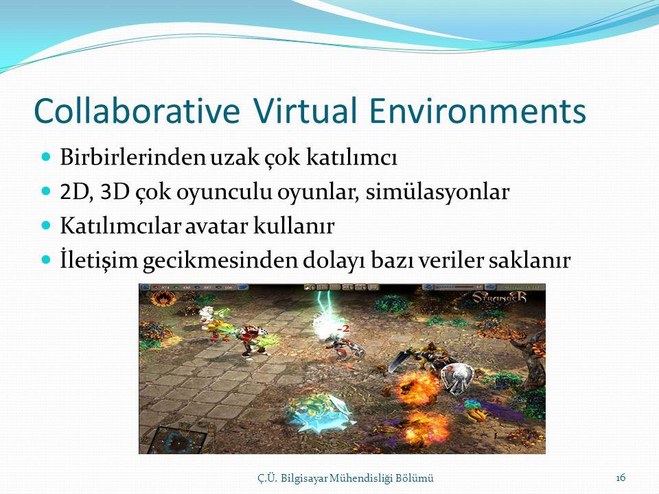 Collaborative Virtual Environments  Birbirlerinden uzak çok katılımcı  2D, 3D çok oyunculu oyunlar, simülasyonlar  Katılımcılar avatar kullanır  İletişim gecikmesinden dolayı bazı veriler saklanır Ç.Ü.