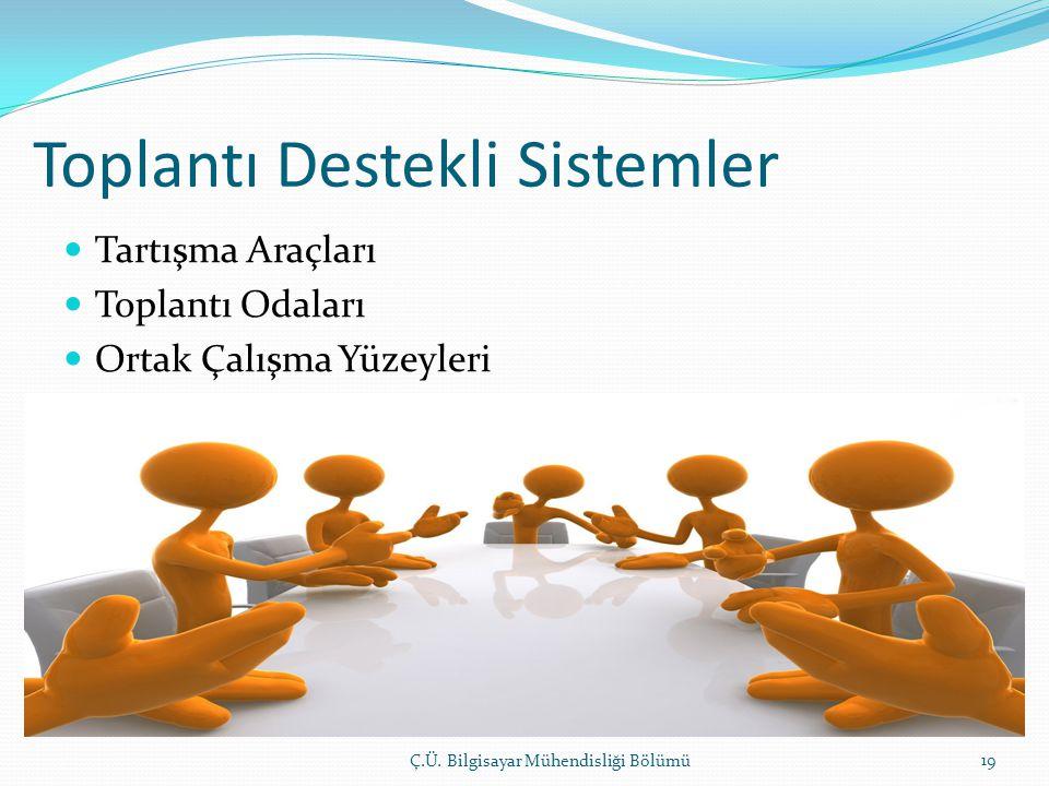 Toplantı Destekli Sistemler  Tartışma Araçları  Toplantı Odaları  Ortak Çalışma Yüzeyleri Ç.Ü. Bilgisayar Mühendisliği Bölümü 19