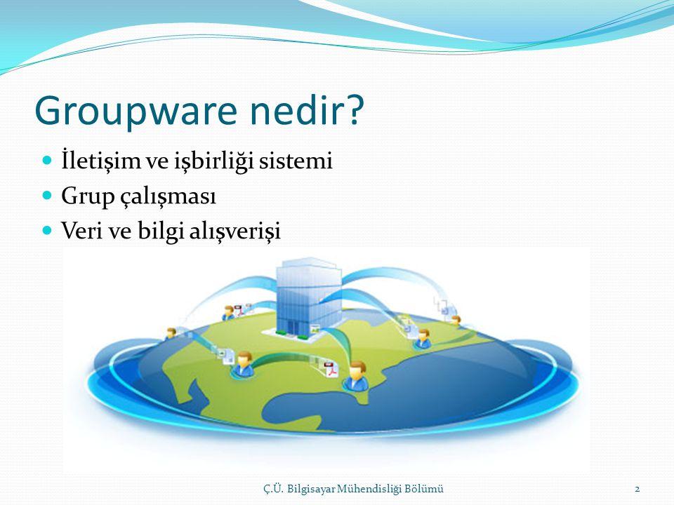 Groupware nedir? Ç.Ü. Bilgisayar Mühendisliği Bölümü 2  İletişim ve işbirliği sistemi  Grup çalışması  Veri ve bilgi alışverişi