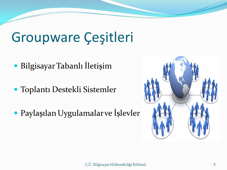 Groupware Çeşitleri  Bilgisayar Tabanlı İletişim  Toplantı Destekli Sistemler  Paylaşılan Uygulamalar ve İşlevler Ç.Ü.