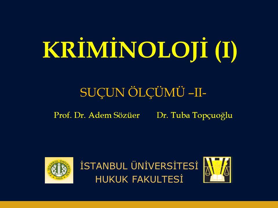 KRİMİNOLOJİ (I) İSTANBUL ÜNİVERSİTESİ HUKUK FAKULTESİ SUÇUN ÖLÇÜMÜ –II- Prof. Dr. Adem Sözüer Dr. Tuba Topçuoğlu