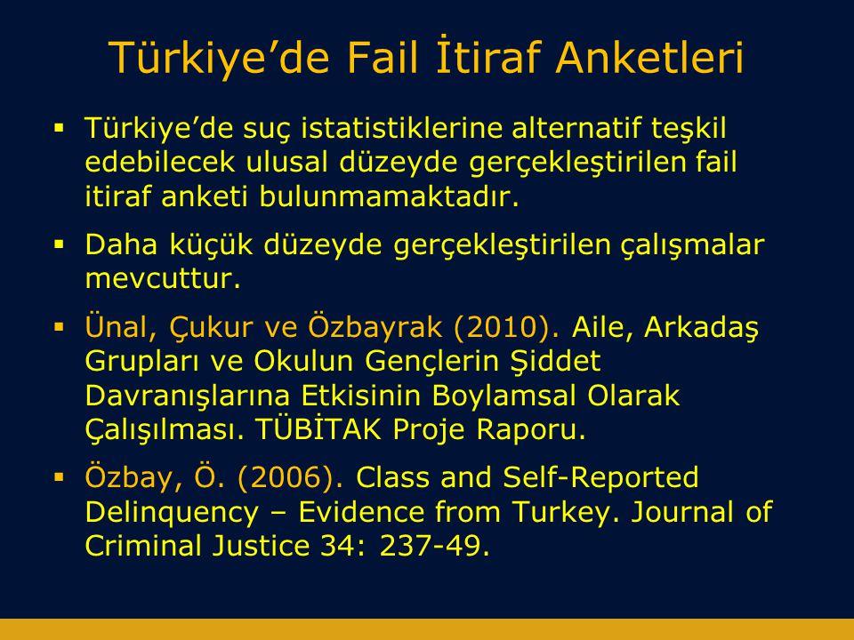 Türkiye'de Fail İtiraf Anketleri  Türkiye'de suç istatistiklerine alternatif teşkil edebilecek ulusal düzeyde gerçekleştirilen fail itiraf anketi bul