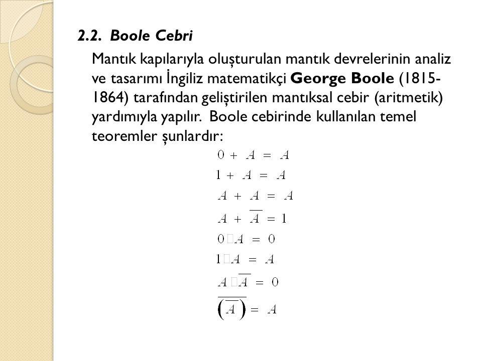 2.2. Boole Cebri Mantık kapılarıyla oluşturulan mantık devrelerinin analiz ve tasarımı İ ngiliz matematikçi George Boole (1815- 1864) tarafından geliş