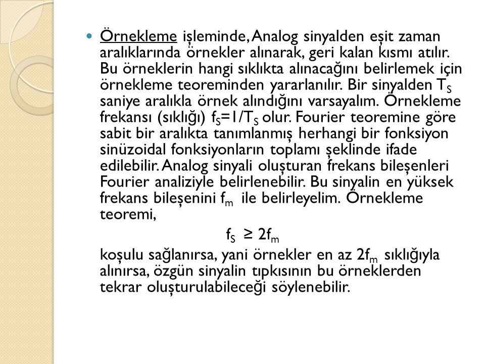  Örnekleme işleminde, Analog sinyalden eşit zaman aralıklarında örnekler alınarak, geri kalan kısmı atılır. Bu örneklerin hangi sıklıkta alınaca ğ ın