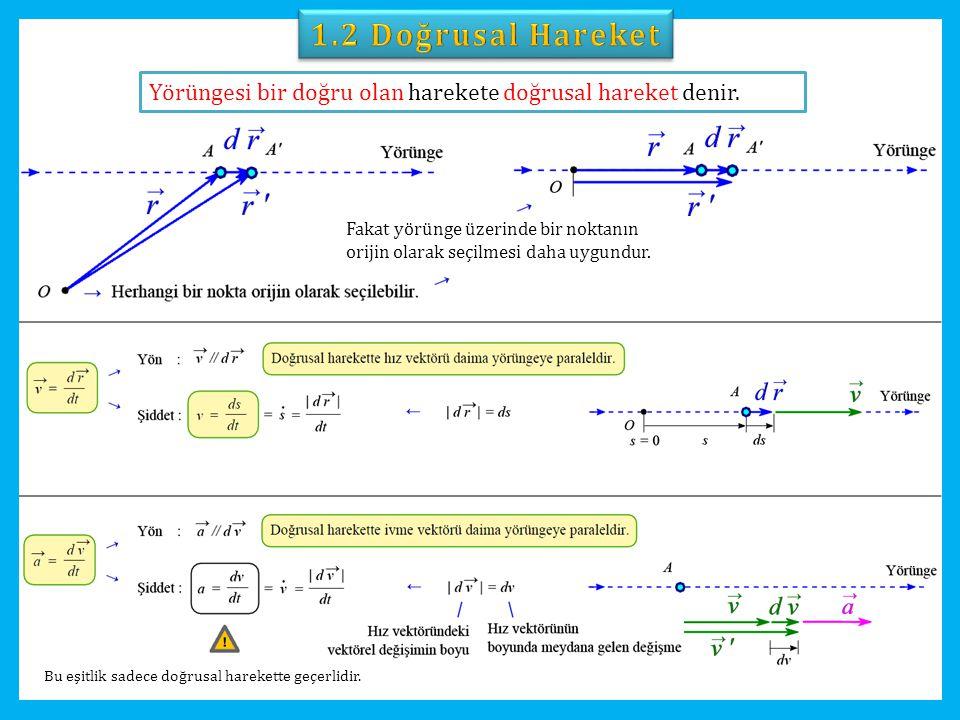 Doğrusal harekette hız ve ivme vektörleri daima yörüngeye paralel oldukları için bu vektörlerin sadece şiddetleri ile ilgilenmek yeterli olur.