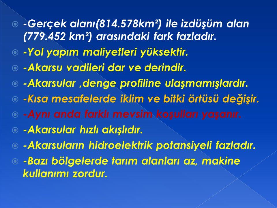  TÜRKİYE'DE YERŞEKİLLERİNİN GENEL ÖZELLİKLERİ  1.Türkiye'de etkisi en fazla olan iç kuvvet, orojenez (dağ oluşumu),etkisi en az olan iç kuvvet ise v