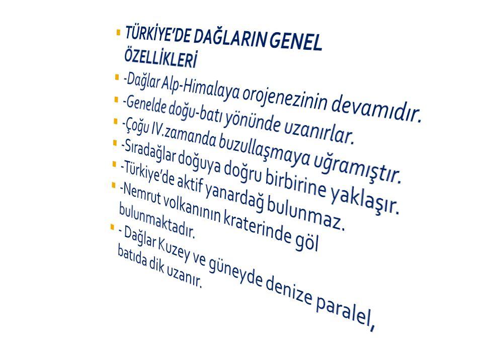  İç Anadolu Bölgesi: Karadağ,Karacadağ,Hasan dağı,Melendiz ve Erciyes dağları.  Güneydoğu Anadolu Bölgesi: Karacadağ  Doğu Anadolu Bölgesi: Nemrut,