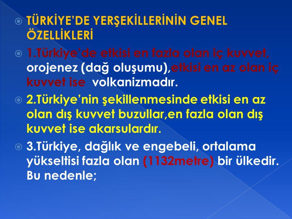  TÜRKİYE'DE YERŞEKİLLERİNİN GENEL ÖZELLİKLERİ  1.Türkiye'de etkisi en fazla olan iç kuvvet, orojenez (dağ oluşumu),etkisi en az olan iç kuvvet ise volkanizmadır.