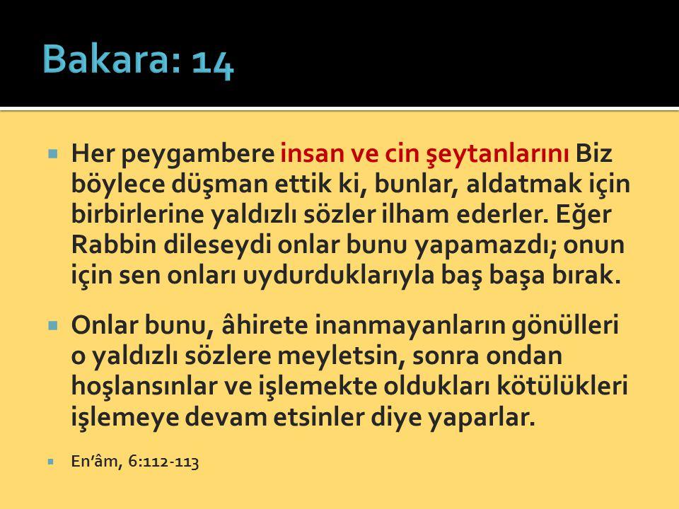  Her peygambere insan ve cin şeytanlarını Biz böylece düşman ettik ki, bunlar, aldatmak için birbirlerine yaldızlı sözler ilham ederler. Eğer Rabbin