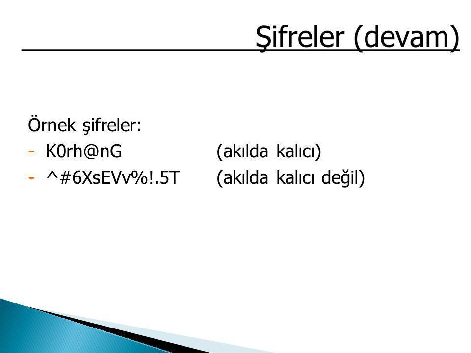 Örnek şifreler: -K0rh@nG(akılda kalıcı) -^#6XsEVv%!.5T(akılda kalıcı değil)