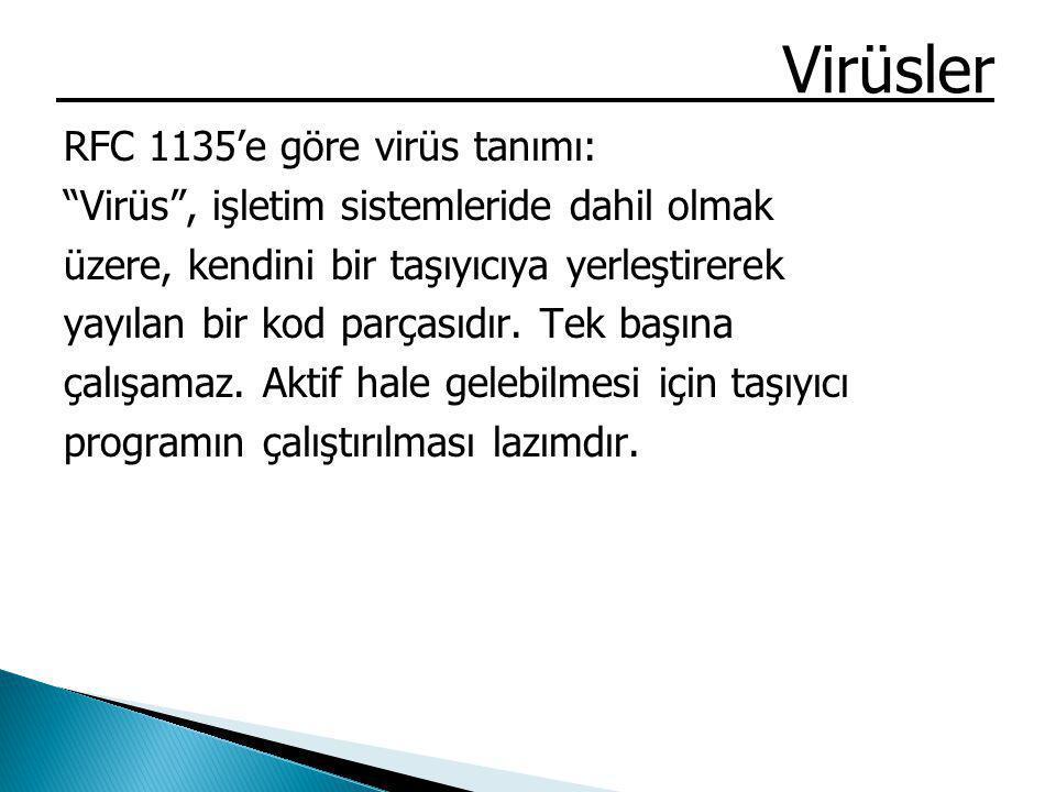 """Virüsler RFC 1135'e göre virüs tanımı: """"Virüs"""", işletim sistemleride dahil olmak üzere, kendini bir taşıyıcıya yerleştirerek yayılan bir kod parçasıdı"""