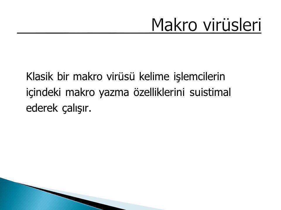 Klasik bir makro virüsü kelime işlemcilerin içindeki makro yazma özelliklerini suistimal ederek çalışır.