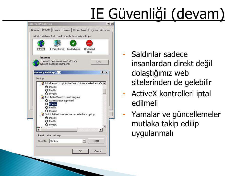 IE Güvenliği (devam) -Saldırılar sadece insanlardan direkt değil dolaştığımız web sitelerinden de gelebilir -ActiveX kontrolleri iptal edilmeli -Yamal