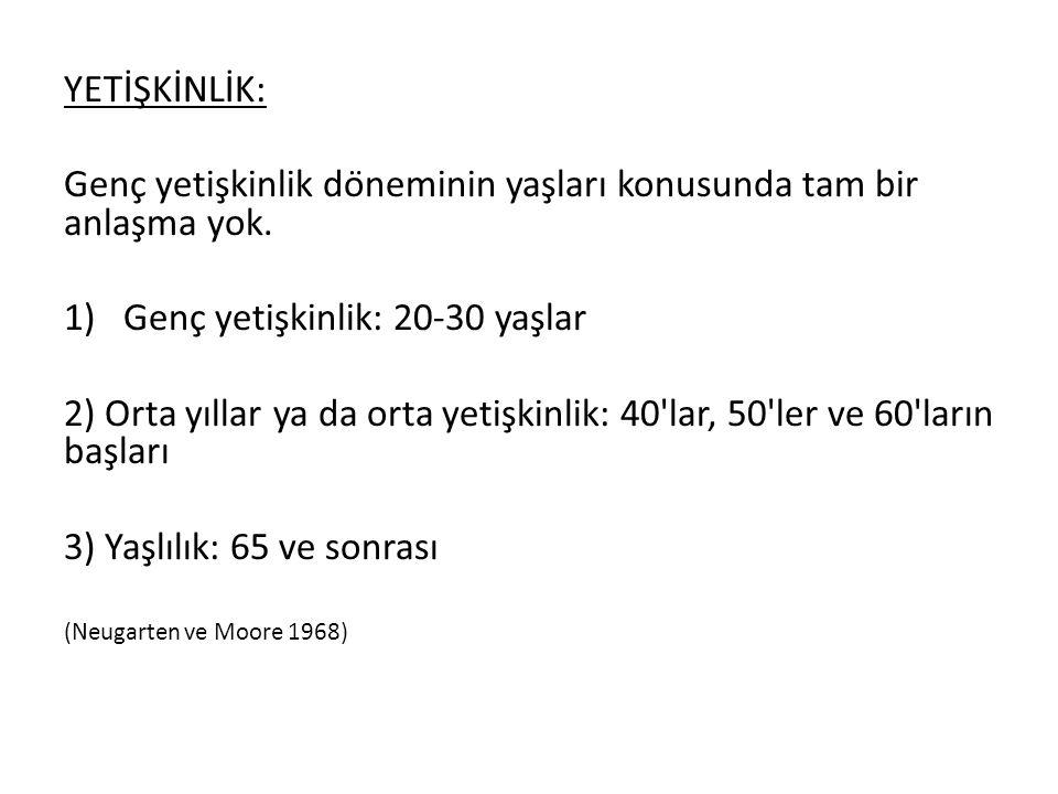 YETİŞKİNLİK: Genç yetişkinlik döneminin yaşları konusunda tam bir anlaşma yok. 1)Genç yetişkinlik: 20-30 yaşlar 2) Orta yıllar ya da orta yeti