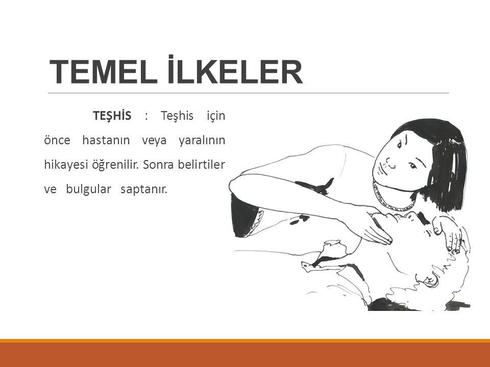 TEMEL İLKELER TEŞHİS : Teşhis için önce hastanın veya yaralının hikayesi öğrenilir. Sonra belirtiler ve bulgular saptanır.