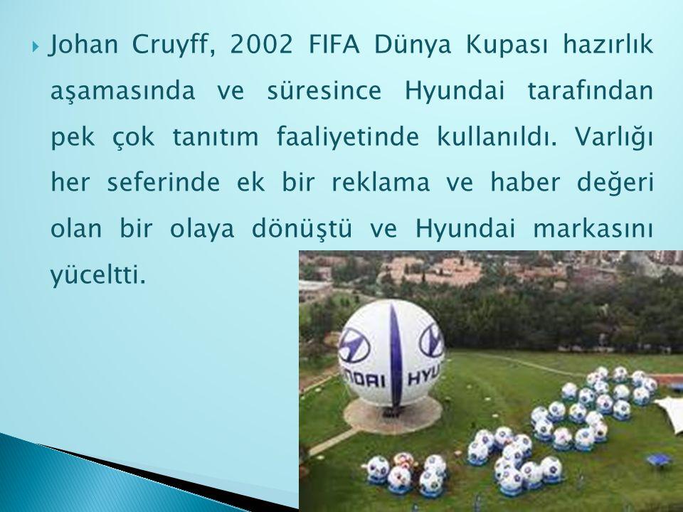 Johan Cruyff, 2002 FIFA Dünya Kupası hazırlık aşamasında ve süresince Hyundai tarafından pek çok tanıtım faaliyetinde kullanıldı. Varlığı her seferi
