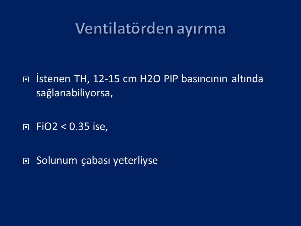  İstenen TH, 12-15 cm H2O PIP basıncının altında sağlanabiliyorsa,  FiO2 < 0.35 ise,  Solunum çabası yeterliyse