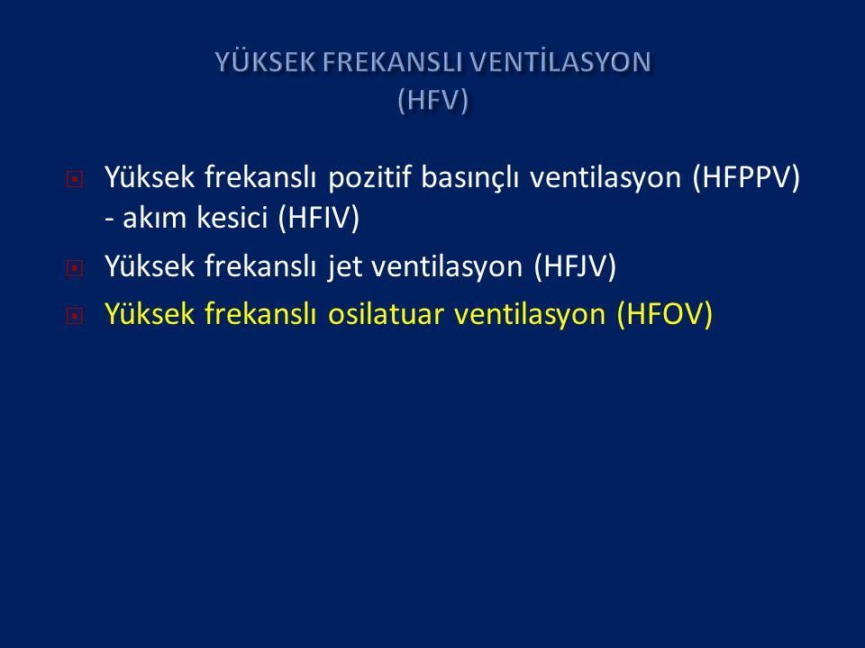  Yüksek frekanslı pozitif basınçlı ventilasyon (HFPPV) - akım kesici (HFIV)  Yüksek frekanslı jet ventilasyon (HFJV)  Yüksek frekanslı osilatuar ventilasyon (HFOV)