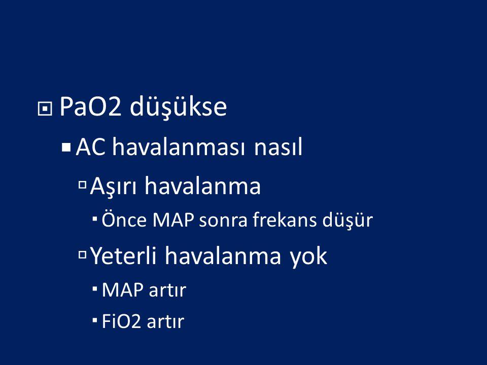  PaO2 düşükse  AC havalanması nasıl  Aşırı havalanma  Önce MAP sonra frekans düşür  Yeterli havalanma yok  MAP artır  FiO2 artır