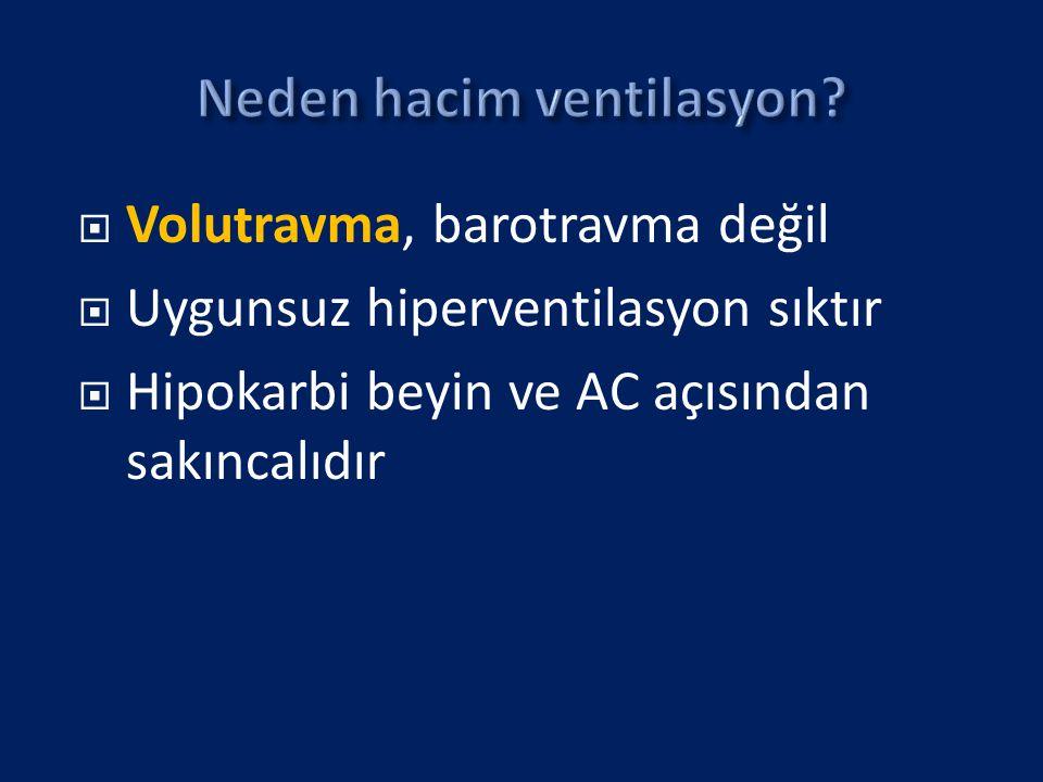  Volutravma, barotravma değil  Uygunsuz hiperventilasyon sıktır  Hipokarbi beyin ve AC açısından sakıncalıdır