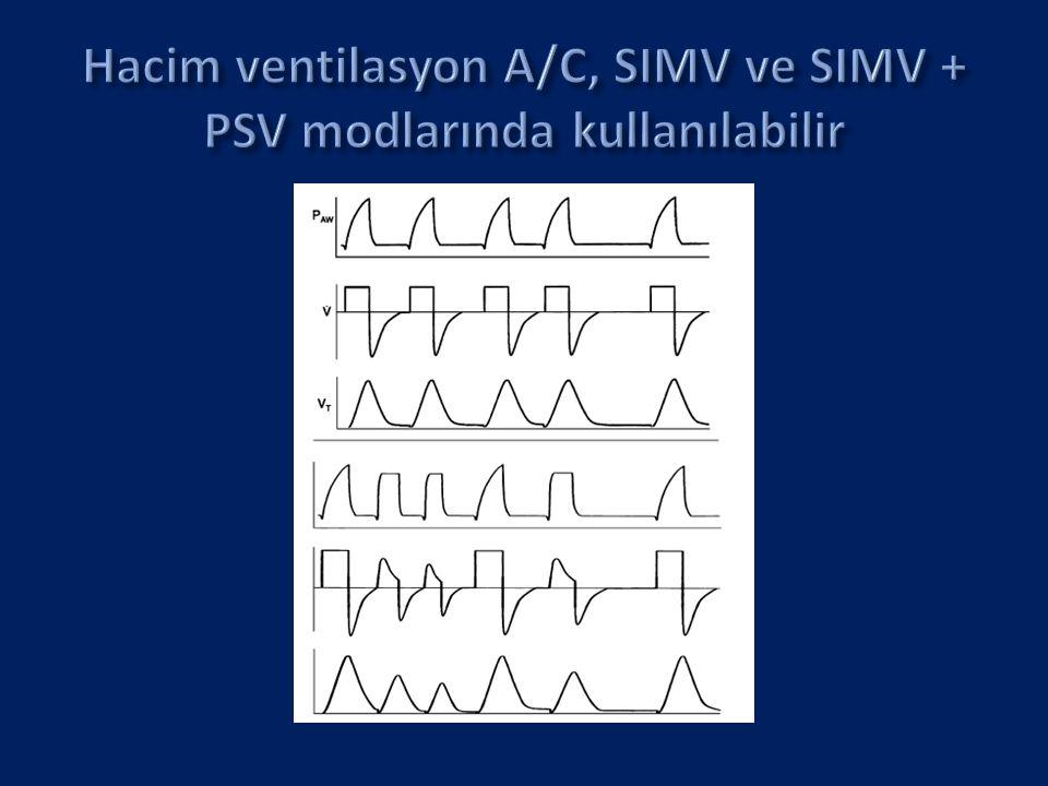 VIP Bird Gold infant/pediatrik ventilatörde mevcuttur  Tek bir soluk tipinde volüm ve basınç ventilasyonun en iyi özelliklerini kombine eder  A/C, SIMV ve PSV moduna eklenebilir  Yenidoğanlarda VAPS deneyimi sınırlıdır