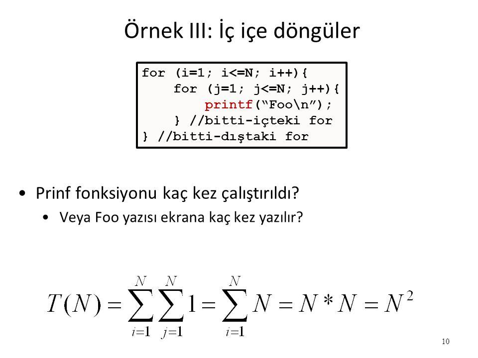"10 Örnek III: İç içe döngüler for (i=1; i<=N; i++){ for (j=1; j<=N; j++){ printf(""Foo\n""); } //bitti-içteki for } //bitti-dıştaki for •Prinf fonksiyon"