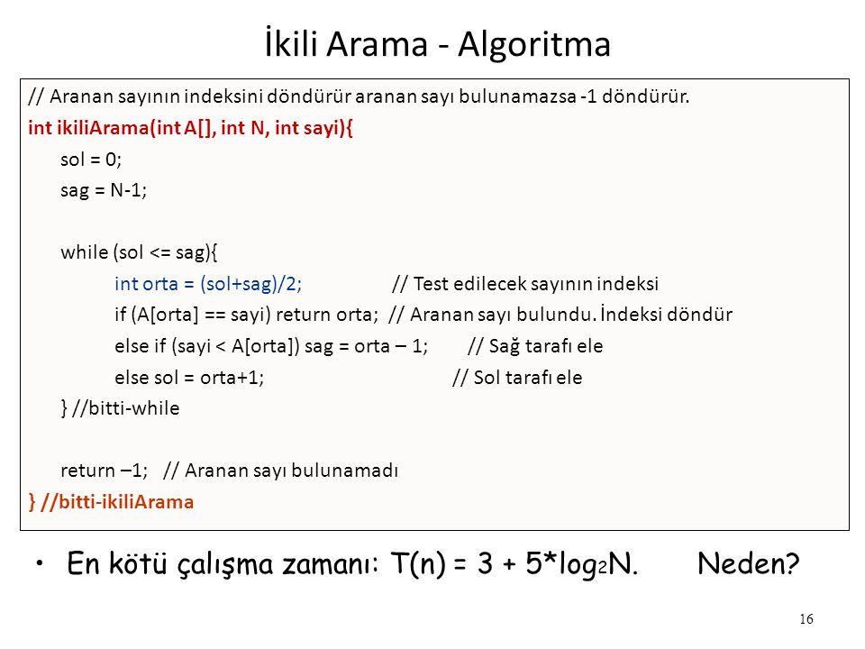 16 İkili Arama - Algoritma // Aranan sayının indeksini döndürür aranan sayı bulunamazsa -1 döndürür. int ikiliArama(int A[], int N, int sayi){ sol = 0
