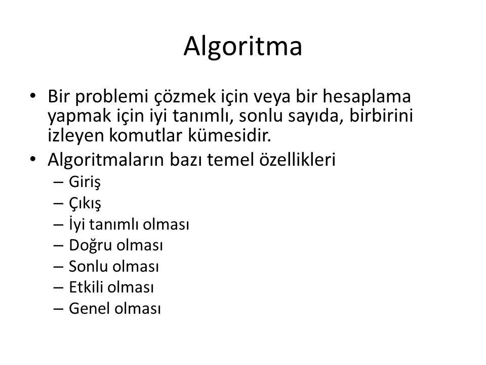 Algoritma • Bir problemi çözmek için veya bir hesaplama yapmak için iyi tanımlı, sonlu sayıda, birbirini izleyen komutlar kümesidir. • Algoritmaların