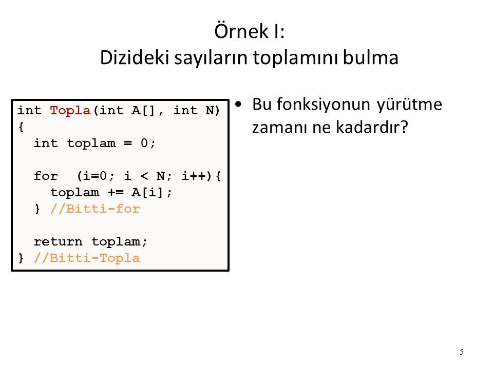 6 Örnek I: Dizideki sayıların toplamını bulma İşlem sayısı 1 2N2N N 1 -------- Toplam: 1 + 2N + N + 1 = 2N + 2 •Çalışma zamanı: T(N) = 3N+2 –N dizideki sayı sayısı int Topla(int A[], int N) { int topla = 0; for (i=0; i < N; i++){ topla += A[i]; } //Bitti-for return topla; } //Bitti-Topla