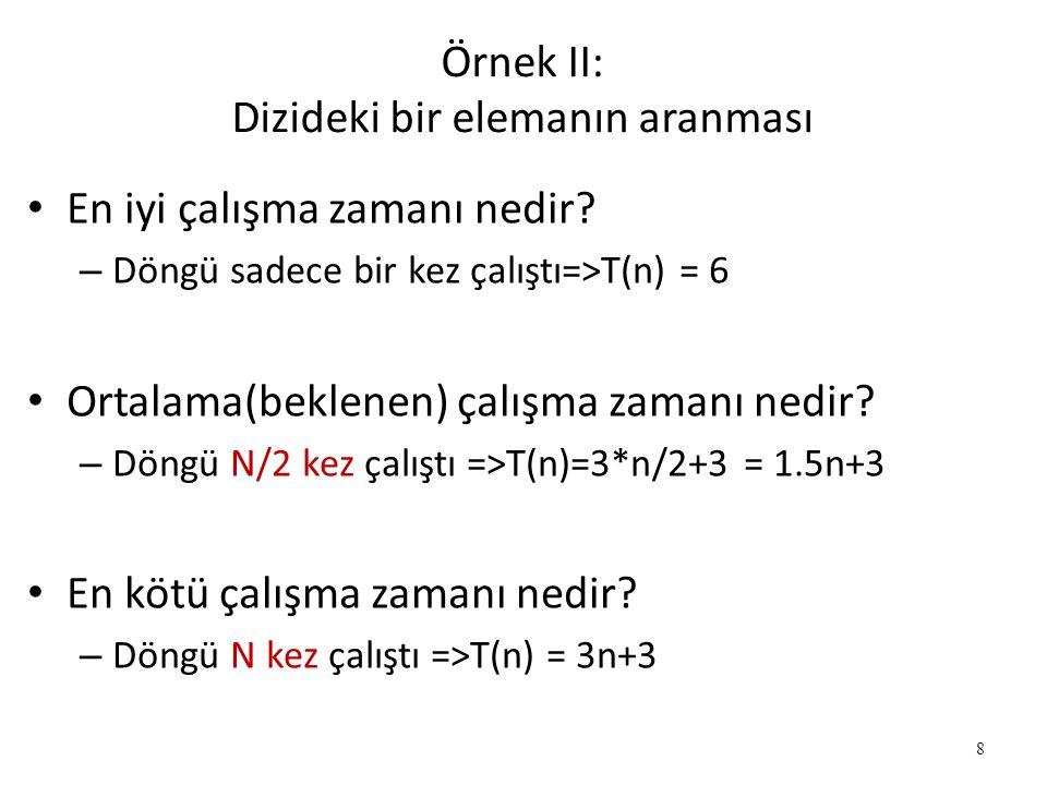 8 Örnek II: Dizideki bir elemanın aranması • En iyi çalışma zamanı nedir? – Döngü sadece bir kez çalıştı=>T(n) = 6 • Ortalama(beklenen) çalışma zamanı